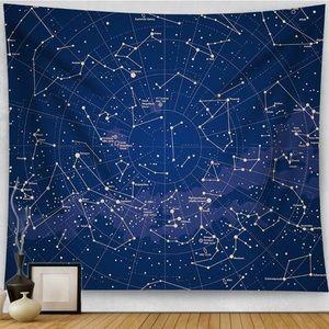 Constellation Tapestry Dark Blue Space Astrology